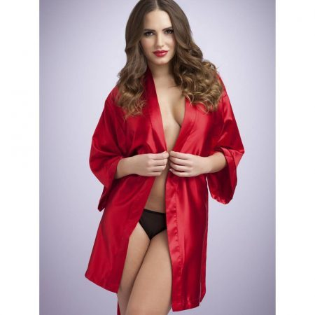 Lovehoney short satin robe red